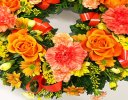 Orange and Yellow Classic Wreath Code: JGFF2740OW | Local Delivery Or Collect From Shop Only