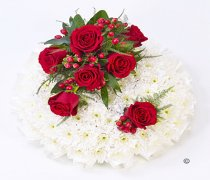Traditional Red and White Massed Posy Code: F13421RS | National and Local Delivery