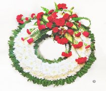 Traditional Red and White Massed Wreath Code: JGFF790RWGW | Local Delivery Or Collect From Shop Only