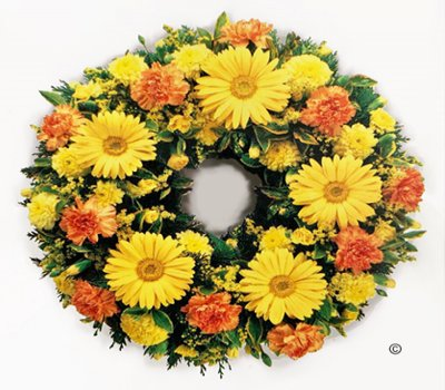 Yellow and Orange Classic Sunshine Wreath Code: JGFF2310YOSW | Local Delivery Or Collect From Shop Only