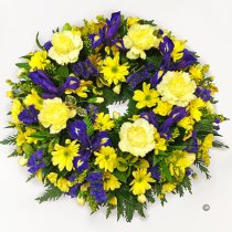 Blue and Yellow Classic Wreath Code: JGFF2750BYW | Local Delivery Or Collect From Shop Only