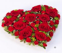 Classic Red Rose and Red Spray Carnation Heart Code: F13460RS | National and Local Delivery