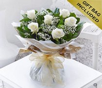Six Stolen Kisses White Rose Hand-tied with White Gypsophila Code: C00271WS | Local Delivery Or Collect From Shop Only