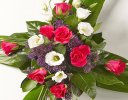 Cerise Rose and Lisianthus Aspidistra Cross Spray Code: JGFF135CAC | Local Delivery Or Collect From Shop Only