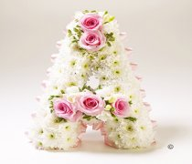 Pink Rose and White Freesia White Massed Letter Tribute Code: JGFF141PRWL | Local Delivery Or Collect From Shop Only