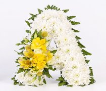 Yellow and White Letter Tribute Code: F13191YS | National and Local Delivery