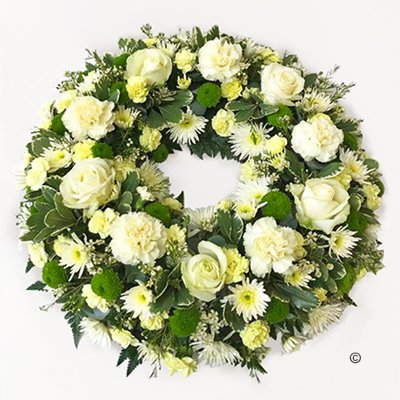 Cream and Green Classic Wreath Code: JGFF320CGW  | Local Delivery Or Collect From Shop Only