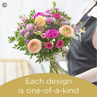 Florist Choice Hand-Tied With Vase Code: JGF-HTV40-VASE1 | National Delivery and Local Delivery