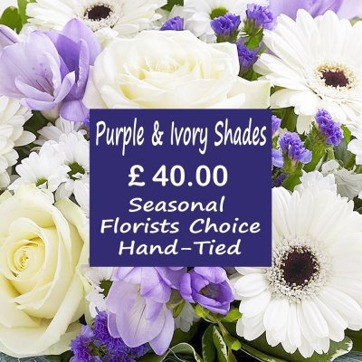 Purple and Ivory Shades Florist Choice Hand-Tied Code: JGFL-PUHT40 |  Local Delivery Only