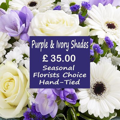 Purple and Ivory Shades Florist Choice Hand-Tied Code: JGFL-PUHT35 |  Local Delivery Only