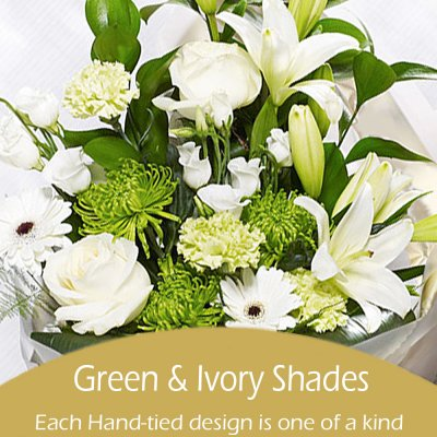 Green and Ivory Shades Florist Choice Hand-Tied Code: JGFL-GIHT00 | Local Delivery Or Collect From Shop Only