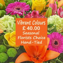 Vibrant Colour Florist Choice Hand-Tied Code: JGFL-VCHT40 | Local Delivery Only