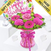 Happy Birthday Vibrant Pink Vase With A Helium Happy Birthday Balloon Code JGF375128HVBB| Local Delivery Or Collect From Shop Only