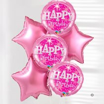 Happy birthday balloon bouquet pink on pink Code: JGFB0231431PB | Local Delivery Or Collect From Shop Only