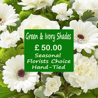 Green and Ivory Shades Florist Choice Hand-Tied Code: JGFL-GIHT50 | Local Delivery Only