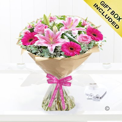 Happy Birthday Pink Endearment Hand-tied Code:JGFH88231HB | Local Delivery Only
