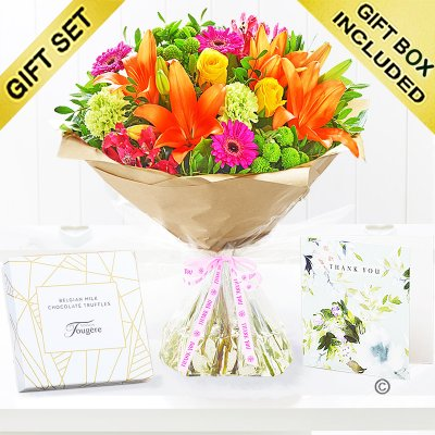 Thank You Vibrant Hand-Tied Gift Set Code: JGF20381VHTYGT | Local Delivery Or Collect From Shop Only