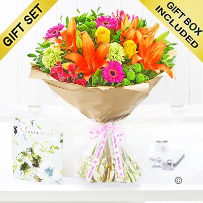 Thank You Vibrant Hand-Tied With Hand Written Thank You Card Code: JGF20381VHTYC | Local Delivery Or Collect From Shop Only