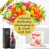 Vibrant Birthday Hand-tied With Gosset Champagne and Happy Birthday Card Gift Set Code: JGFH20381VHB-GCBC | Local Delivery Or Collect From Shop Only