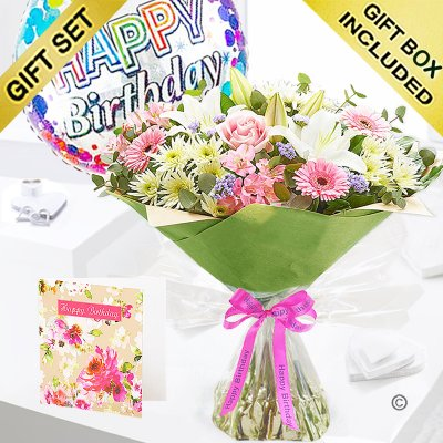 Happy Birthday Country Garden Hand-tied With Happy Birthday Balloon and Happy Birthday Card Gift Set Code: JGFC08121MS-HBC | Local Delivery Or Collect