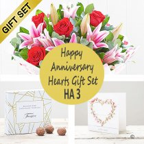 Happy Anniversary Hearts Gift Set HA3 Code: JGFHA3TC | Local Delivery Or Collect From Shop Only