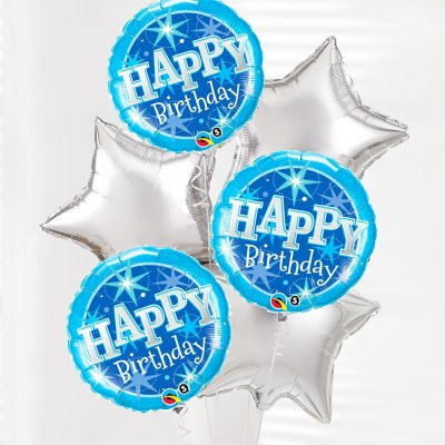 Happy Birthday Balloon Bouquet Blue and Silver Code: JGFB0231591BSB | Local Delivery Or Collect From Shop Only