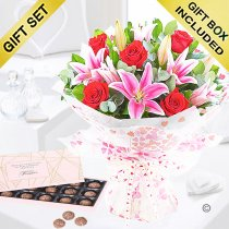 Rose and Lily Hand-tied with Luxury Belgian Salted Caramel Chocolate Truffles Code: JGFV20072RLSC  | Local Delivery Or Collect From Shop Only