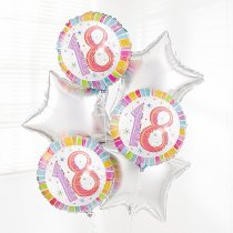 18th Birthday Balloon Bouquet Silver Code: JGFB300618SBQ  | Local Delivery Or Collect From Shop Only