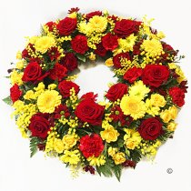Luxurious Red and Yellow Classic Wreath Code: JGFF2880LRYWR | Local Delivery Or Collect From Shop Only
