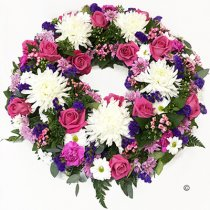 Luxurious White, Purple and Pink Classic Wreath Code: JGFF200LPWPW | Local Delivery Or Collect From Shop Only