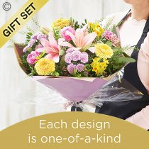 Spring Hand-tied Bouquet with Luxury Belgian Chocolates Code: SHTU1-C | National Delivery and Local Delivery Or Collect From Shop