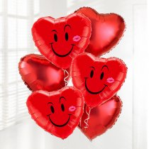 Naughty Smile & Kiss Heart heart helium-filled balloon Bouquet Code: JGFB5011NSFHB | Local Delivery Or Collect From Shop Only