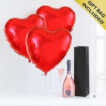 Hearts and sparkling rosé wine Code: JGFG025PRB | Local Delivery Or Collect From Shop Only
