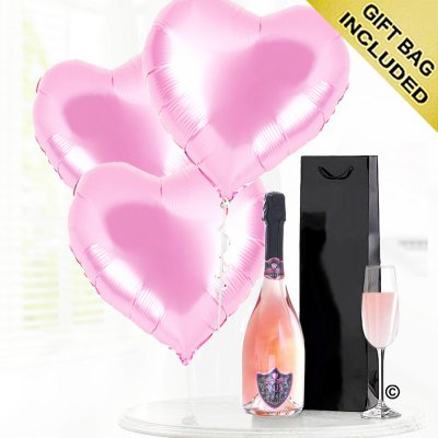 Pink hearts and sparkling rosé wine Code: JGFG020PPB | Local delivery or collect from shop only