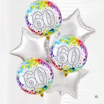 60th happy birthday balloon bouquet silver stars Code: JGF0260SSHB | Local Delivery Or Collect From Shop Only
