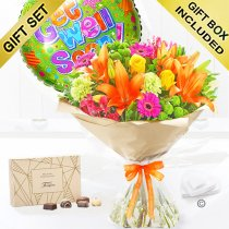 Get well vibrant hand tied with a box of Belgian chocolates and get well balloon Code: JGFG281GVBC | Local Delivery Or Collect From Shop Only