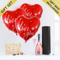 Love Hearts and Sparkling Nua rosé wine with luxury chocolates Code: JGFG74ILYCCC | local delivery or collect from shop only
