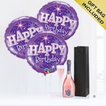 Happy birthday sparkling rosé wine and purple balloon celebration  Code: JGFB5RWPBGS | local delivery or collect from shop only