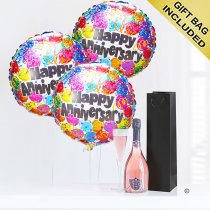 Happy anniversary sparkling rosé wine and balloons party Code: JGFA1HASRW | Local Delivery Or Collect From Shop Only