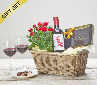 Luxury Red Wine Gift Basket Code: C01240RS | National and Local Delivery