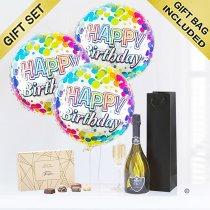 Happy birthday prosecco and balloon celebration gift with chocolates Code: JGFH42CPHBC | local delivery or collect from shop only