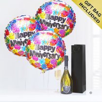 Happy anniversary prosecco and balloons party Code: JGFA11HASP | Local Delivery Or Collect From Shop Only