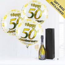 50th anniversary prosecco and balloons Code: JGFA50THP | Local delivery or collect from shop only