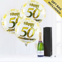 50th anniversary champagne and balloons Code: JGFA50THC | Local delivery or collect from shop only