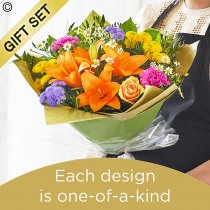 Summer hand-tied bouquet with Luxury Belgian Chocolates Code: HHTU1-C | National Delivery and Local Delivery Or Collect From Shop