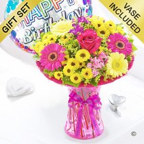 Happy birthday summer vibrant vase with a happy birthday balloon dots Code: JGFS889SV-HBD | Local delivery or collect from shop only