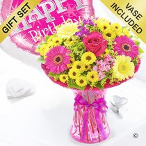 Happy birthday summer vibrant vase with a happy birthday balloon pink Code: JGFS889SV-HBP | Local delivery or collect from shop only