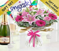 Pink Endearment Congratulations Hand-tied with Champagne and Congratulations Balloon  Code: JGF0015300EHCB  | Local Delivery Or Collect From Shop Only