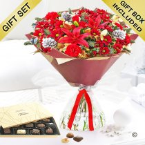 Christmas Cracker Hand-tied with a Box Of Luxury Belgian Chocolates Code: X80051RS-C | National and Local Delivery