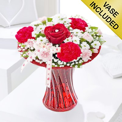 Red love vase Code: JGF400550RL | Local delivery or collect from shop only